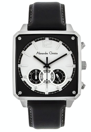 Alexandre Christie black Alexandre Christie Jam Tangan Pria - Black Silver White - Leather Strap - 6484 MCLSSBASL 6E9B8AC92071DEGS_1