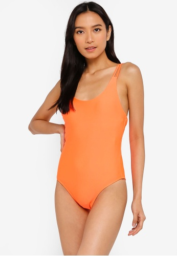 7335d9f3d Cotton On Body orange Flo Double Strap One Piece Cheeky Swimsuit  EE463US41F4A3BGS 1