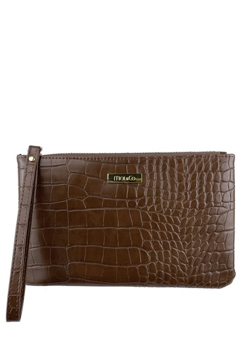 Mel&Co brown Faux Leather Croco Embossed Wristlet 64AEBAC872C7C2GS_1
