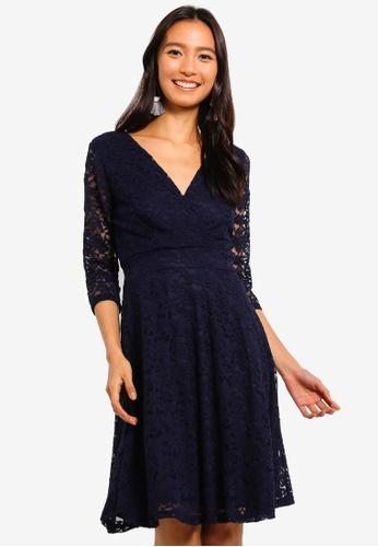 Mela London navy Delicate Lace Quarter Sleeve Dress 71113AA1934AF3GS_1
