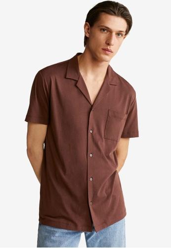 Mango Man brown Cotton Knit Shirt C5CC5AABC76AB9GS_1