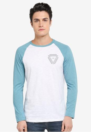 Burton Menswear London green Jade And White Long Sleeve Chest Print Raglan T-Shirt 10437AAD9E8F4AGS_1