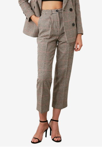 Trendyol multi Straight Cut Plaid Pants C892AAAC370600GS_1