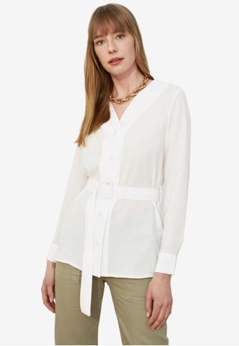 Trendyol white Belted Button Down Blouse 6188FAA4C9E384GS_1