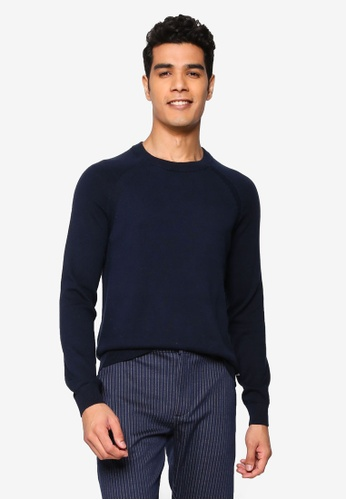 !Solid navy Luno O-Neck Sweater B4618AA17CD062GS_1