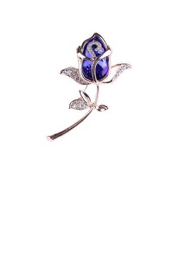 Glamorousky blue Fashion and Elegant Plated Gold Blue Rose Brooch with Cubic Zirconia 5FEF4AC2D2F7E8GS_1