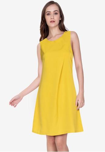 ZALORA WORK yellow Overlap Shift Dress BC651AA3959911GS_1