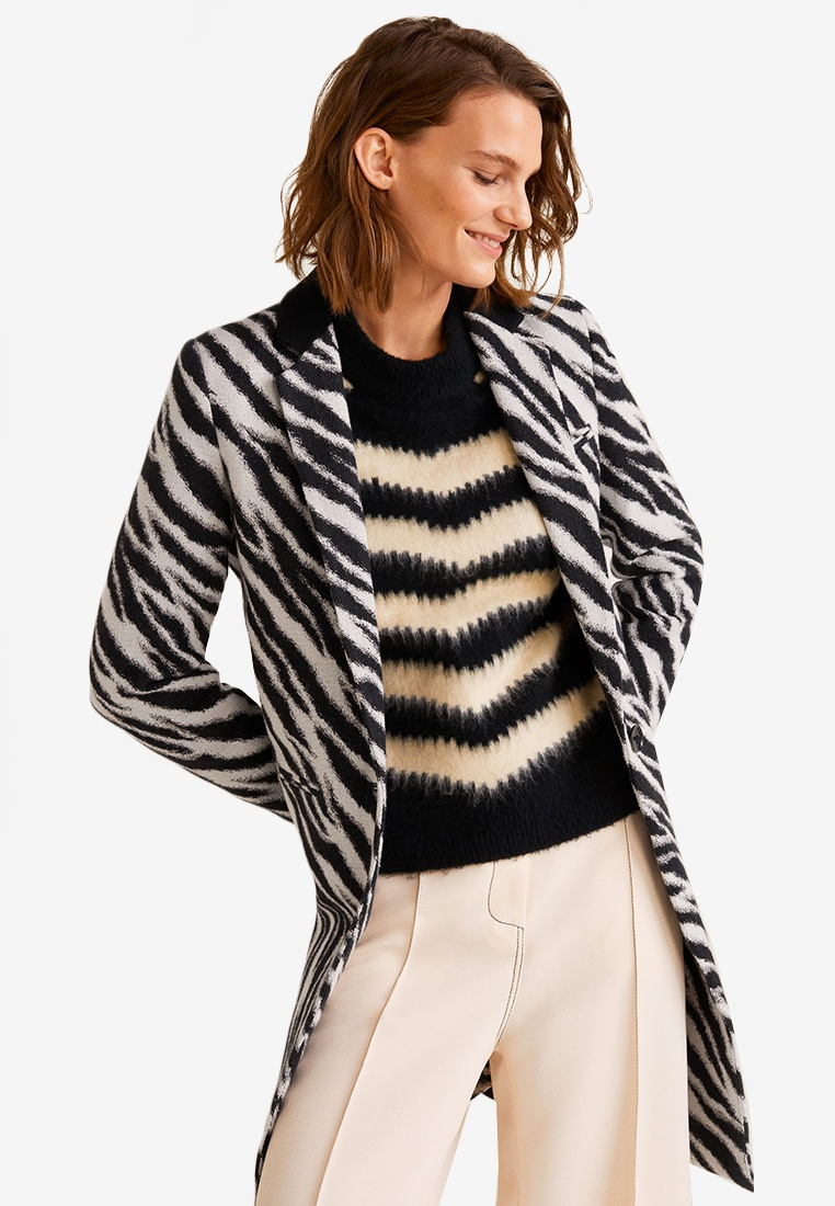 Mango Black Cotton Zebra Cotton Coat Coat Black Mango Zebra Zebra Coat Cotton Mango S8qwHA4A