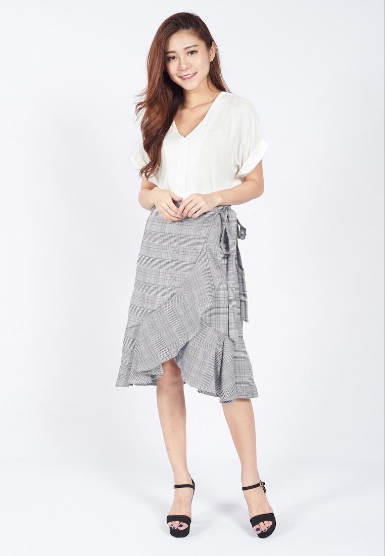 Sophialuv Wrapped Plaid Plaid Grey Waterfall Grey Skirt Midi in RUwx7RWqCr