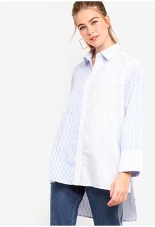9a059536270f4 Contrast Striped Boyfriend Shirt 48380AA6CB8712GS 1
