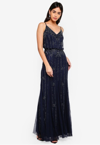 Lace & Beads navy Keeva Maxi Dress 32C07AAF34A181GS_1