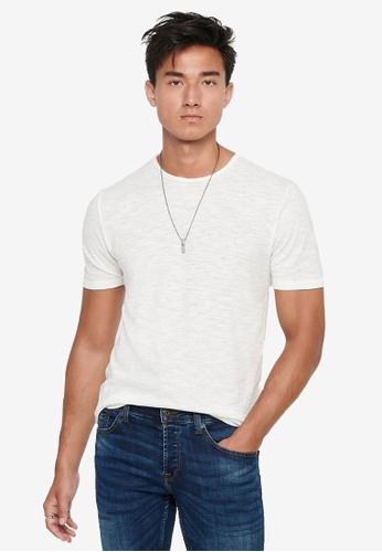 Only & Sons white Albert Life New Short Sleeve T-Shirt 34239AA979C7B3GS_1