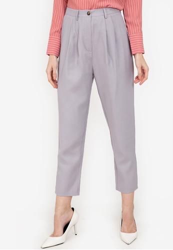 ZALORA WORK grey Pleat Detail Pants 16D87AA182514DGS_1