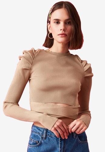 Trendyol brown Gathered Sleeve Waist Detail Sweater 0F3D0AAAE51180GS_1