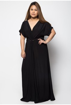 Front Knot Dolman Maxi Dress with Side Pockets