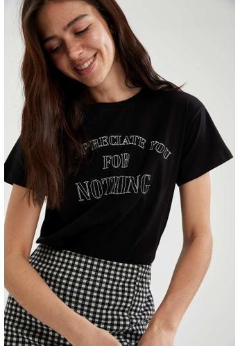 DeFacto black Woman Knitted Short Sleeve T-Shirt 71E9DAA4D62D9EGS_1