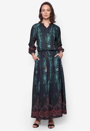 esprit 特賣混合印花束腰長洋裝, 服飾, 洋裝