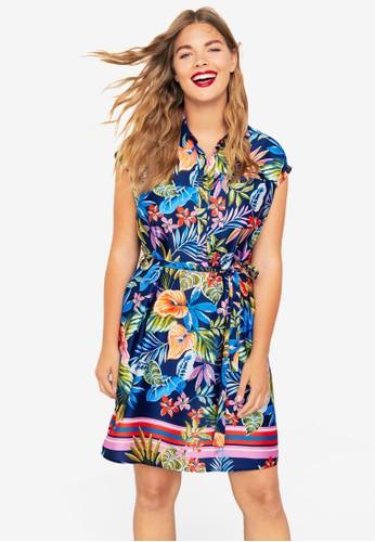 Violeta by MANGO blue Plus Size Flowy Print Dress B79F7AA4ECE4C7GS_1