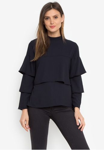 Susto The Label navy TULLA Layered Blouse A7D3DAA93C7767GS_1