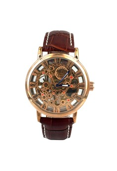 Men's Mechanical Dial Roman Numerals Analog Business Leather Band Wrist Watch