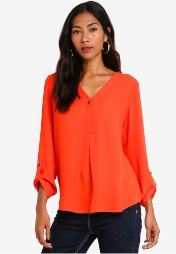 963d8b3b07ad40 Buy Dorothy Perkins Orange Roll Sleeve Blouse Online on ZALORA Singapore