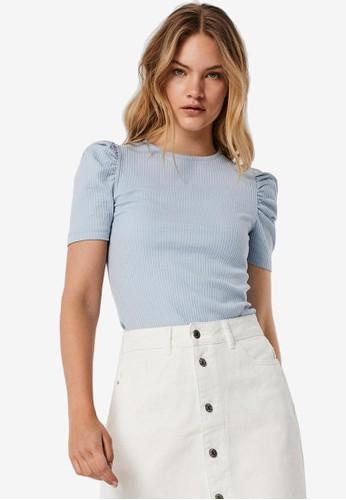 Vero Moda blue Polly Puff Short Sleeve Top A6509AA32A7433GS_1