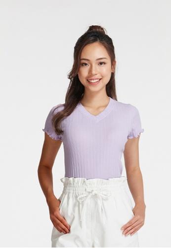 6IXTY8IGHT purple IMOLA, V-neck Rib Knit T-Shirt TP09078 49089AAAF1EBA6GS_1