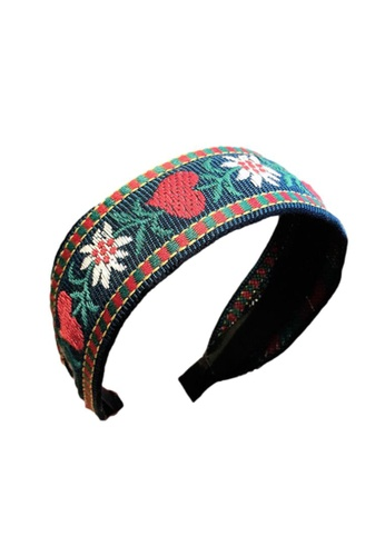 Kings Collection black Ethnic Style Vintage Embroidery Flower Headband (HA20006) ED07BAC27ECD81GS_1