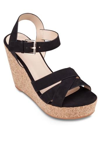 交叉帶繞踝楔型跟zalora 手錶 評價鞋, 女鞋, 楔形涼鞋