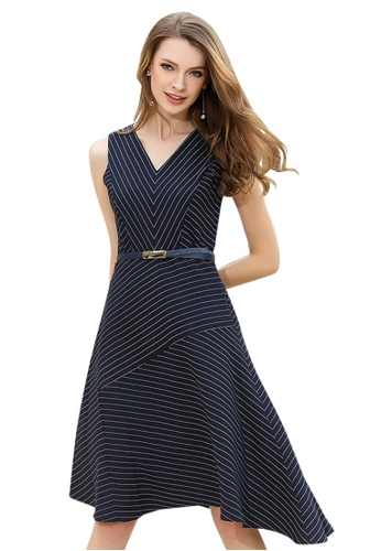 Sunnydaysweety blue Stripe Slim Dress A050266 SU219AA0HA8QSG_1