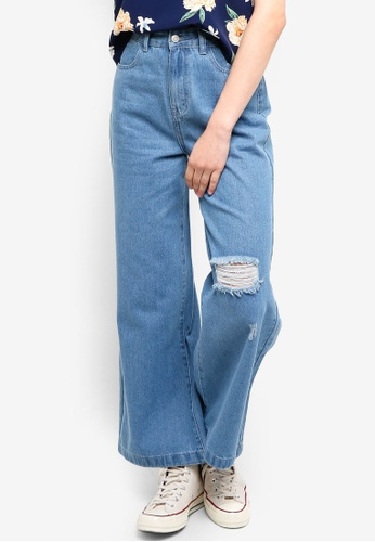 Something Borrowed blue Ripped Wide Leg Jeans 2339AAAD90F7B0GS_1