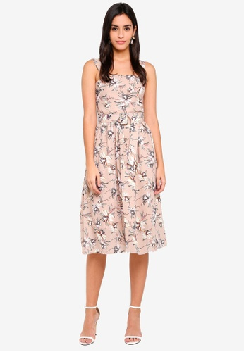 MDSCollections beige Olena Gathered Dress In Nude Floral 88B4BAA82E9CE4GS_1