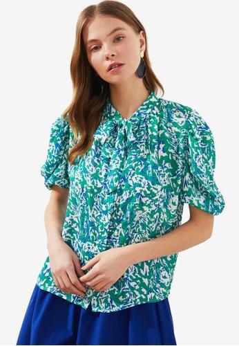 Trendyol green Floral Print Tie Neck Detail Blouse B0397AAFE04742GS_1