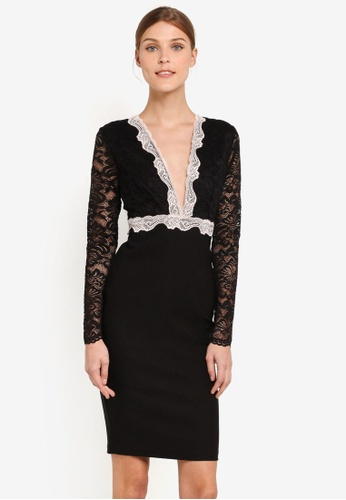 Vesper black Vesper Armelle Lace Trim Midi Dress VE733AA0SXA7MY_1