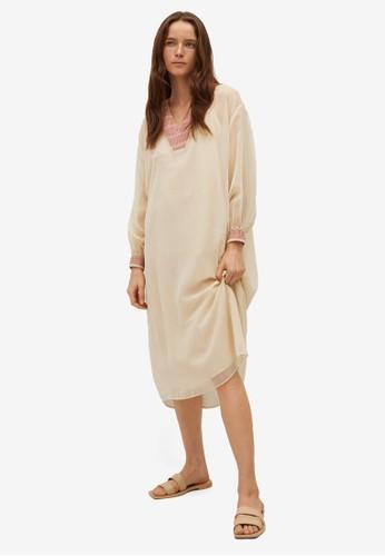 Mango beige Sheer Fabric Dress 9B746AA5C4D0BEGS_1