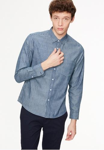 Life8 blue Casual Slim Stripe Shirt-03888-Deep Blue LI283AA0GODSSG_1
