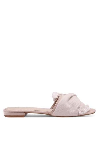 ZALORA 米褐色 Sandals With Tie Detail 5C8A0SHFAE20E4GS_1
