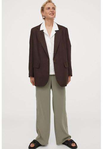 H&M brown Oversized linen-blend jacket 303CEAA5C6FBD1GS_1