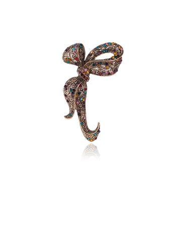 Glamorousky silver Fashion Vintage Plated Gold Ribbon Brooch with Cubic Zirconia 809D9ACFBDF9BDGS_1