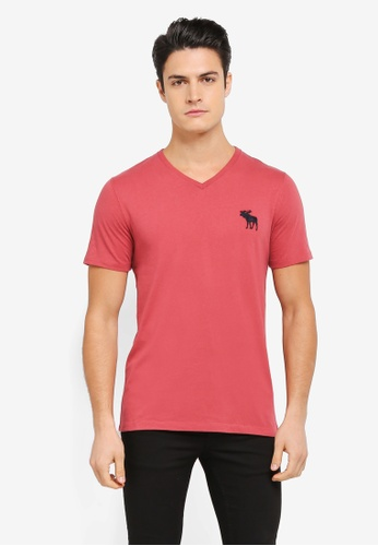 Abercrombie & Fitch red Brand Icon V Neck T-Shirt AB423AA0SV02MY_1