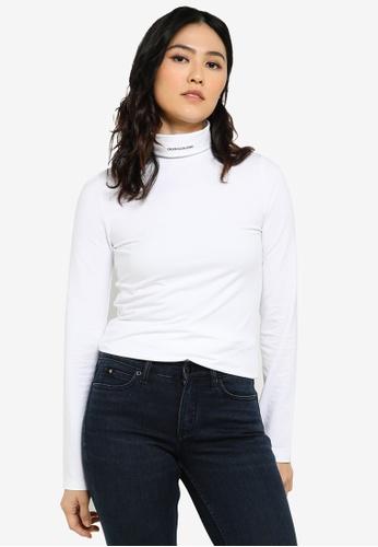 Calvin Klein white Micro Brand Turtleneck Tee - CK Jeans 23101AAFCE405DGS_1