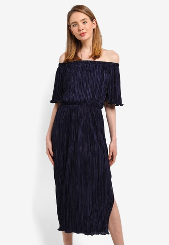 CLOSET navy Off Shoulder Gathered Dress 606D9AAA4BDC44GS_1