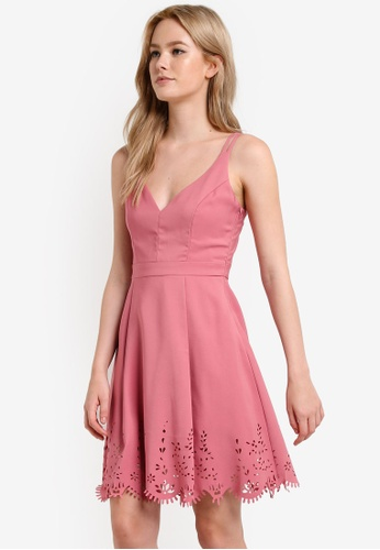 Preen & Proper pink Deep V Mini Dress PR614AA38YQZMY_1