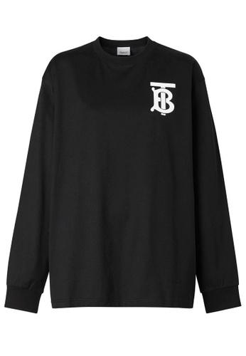 BURBERRY black Burberry Long Sleeve Monogram Motif T-Shirt in Black 3E791AA33F4882GS_1
