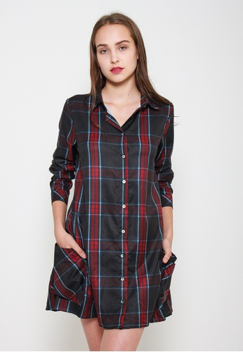 Leline Style black and red Kenzie ShirtDress 8ECE6AA583CA1DGS_1