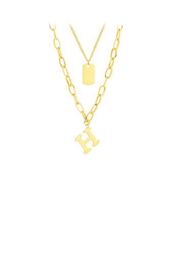 Glamorousky silver Simple Personality Plated Gold English Alphabet H 316L Stainless Steel Pendant with Double Necklace 24401ACF7CA914GS_1