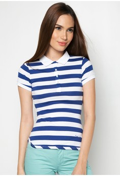 Knitted Basic Slim Fit Stripes Polo Tee