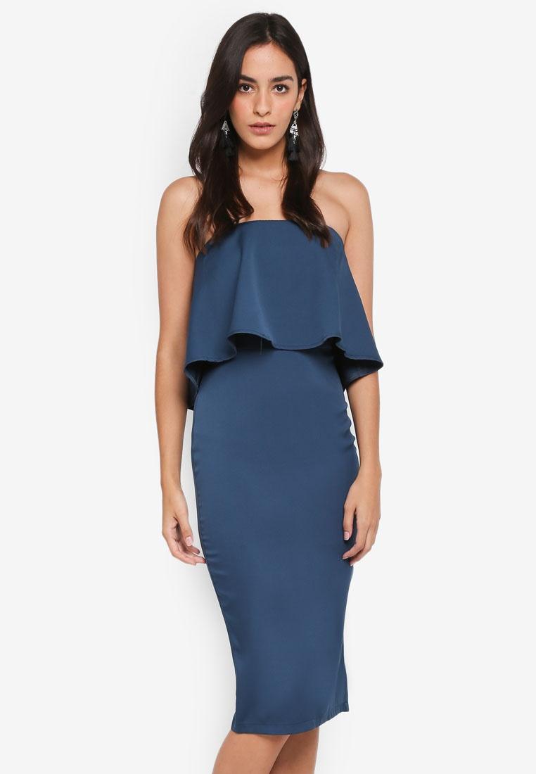 Frill Midi Teal Bandeau MISSGUIDED Woven Dress x8HAgw