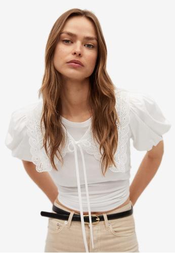 Mango white Babydoll Collar Cotton T-Shirt 24855AA4E56204GS_1