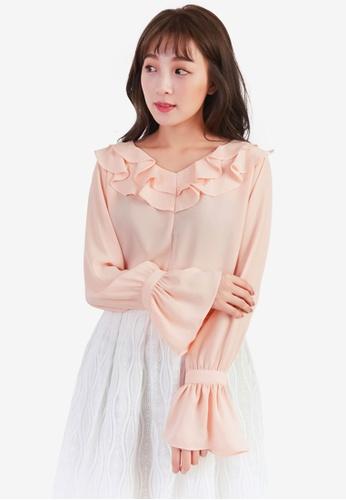 YOCO pink Ruffled Long Sleeve Blouse C7E09AA7E72796GS_1